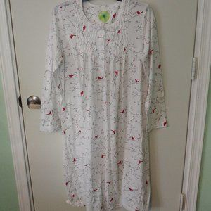 WHITE ORCHID WHITE & RED CARDINALS NIGHTGOWN SZ M